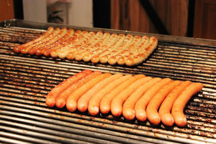 The real German sausage at the German Christmas Market